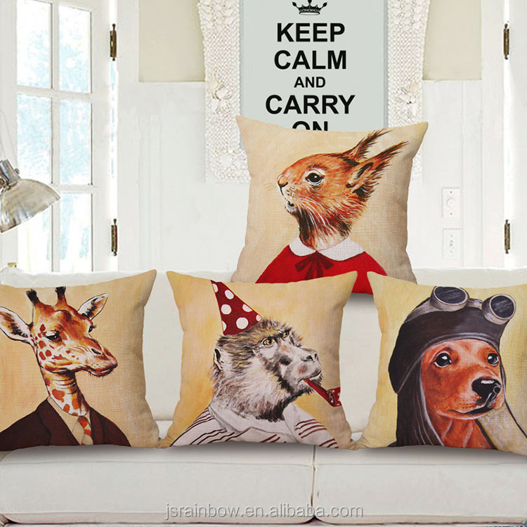 2017 new design cotton linen cushion 3d animal sublimation linen cotton cushion cover