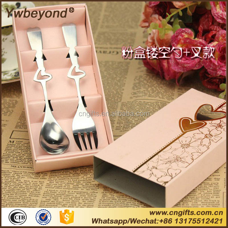 Ywbeyond Loving Hearts Stainless Spoon and fork 2pcs Set Return Gifts for Kids Birthday Party Wedding Giveaways
