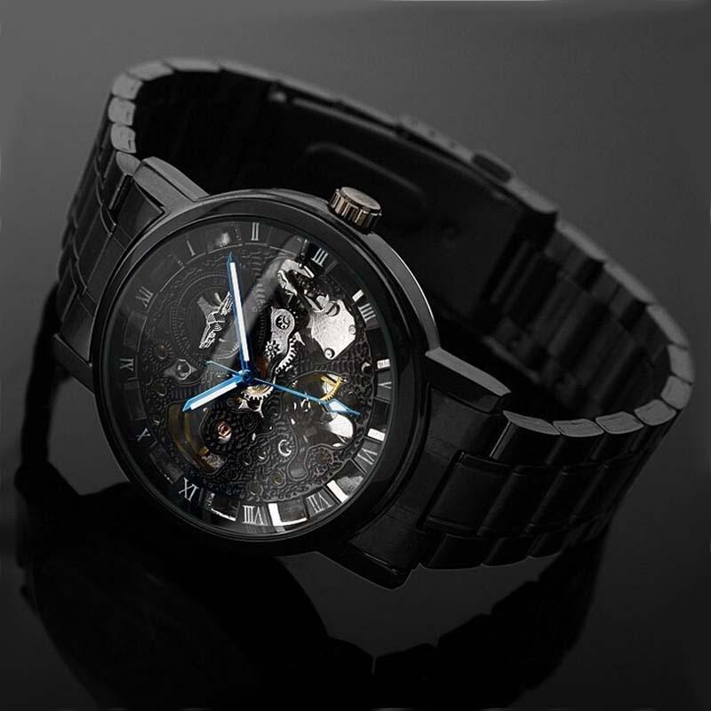 Montre Homme Winner Steampunk Clock Watch Men Black