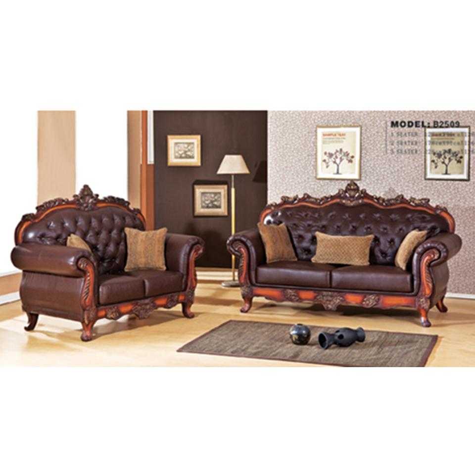 B2509 Clic Wood Frame Leather Sofa