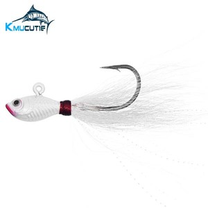 Retail package jig head bucktail fluke fishing 2oz luminous bucktail jig