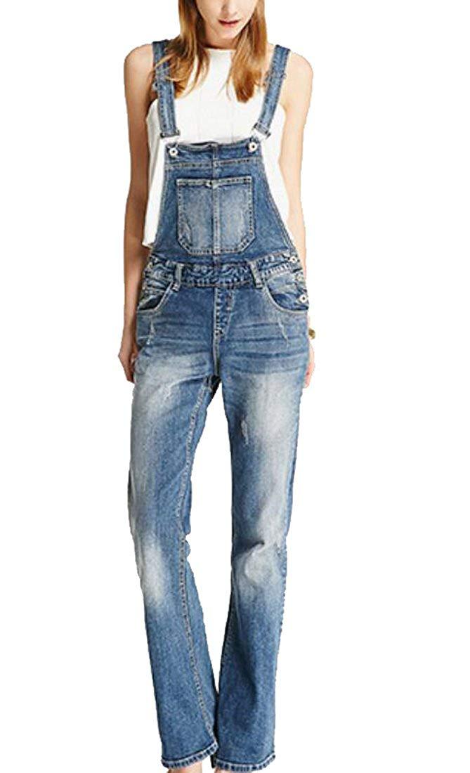 4390256d06c Get Quotations · XiaoTianXin-women clothes XTX Women s Vintage Wide Leg  Overalls Classic Fit Denim Jeans