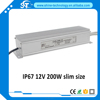 High quality ac dc small 230v 220v to 12v 200w 16.7a waterproof led driver, 12 volt 200 watt led lighting power supply