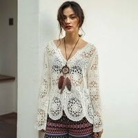 2018 fashion ladies lace tops and blouses for beach wear women clothing