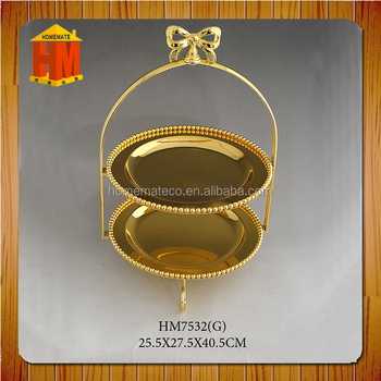 2017 new exquisite design wedding cake dish double layers with butterfly handle fresh in design good quality fruit layers dish