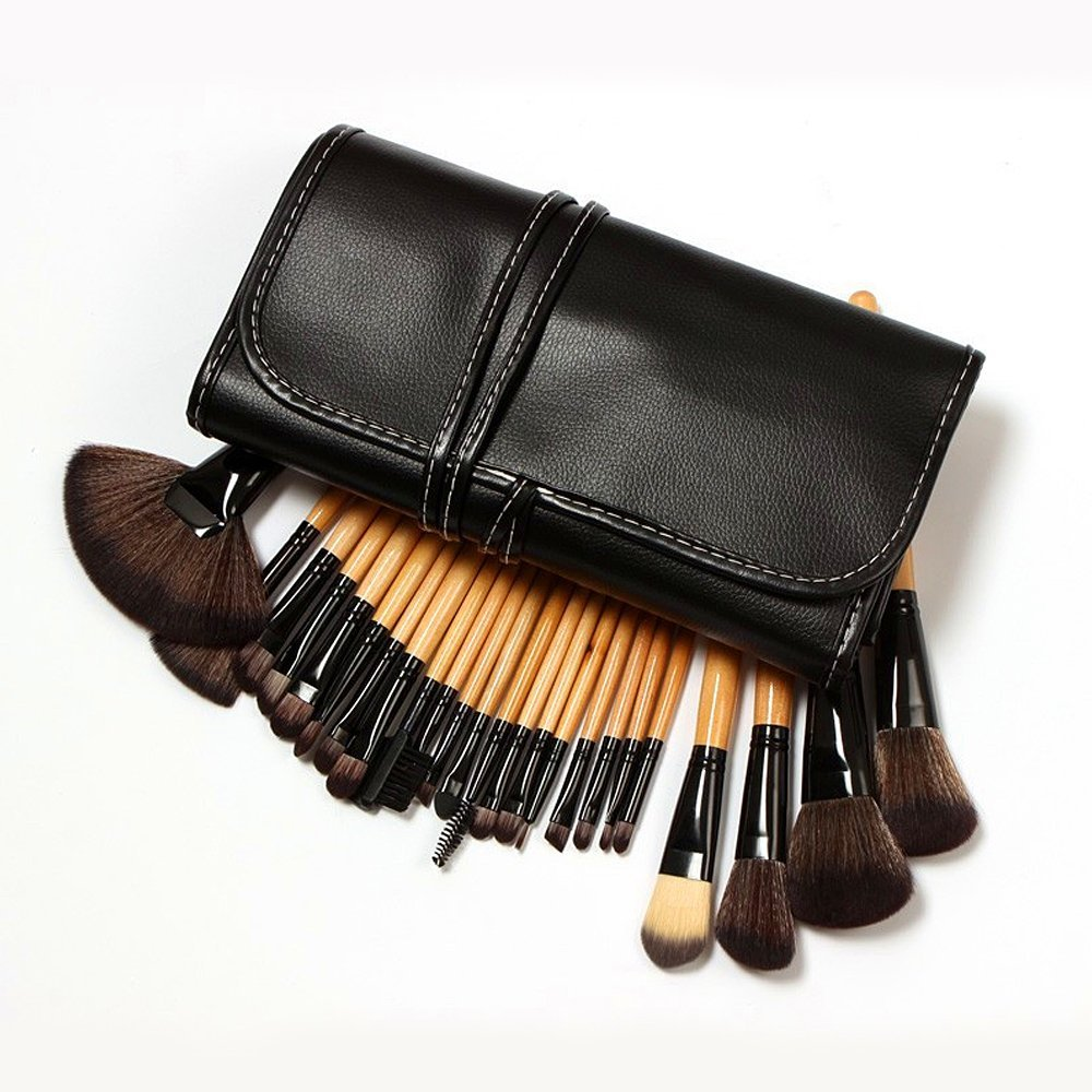 Professional Cosmetic Brush Set - Makeup Brush Set with Premium Synthetic Hair,Pro Wooden Handle Cosmetic Makeup Brush kit set-24 PCS (Black)
