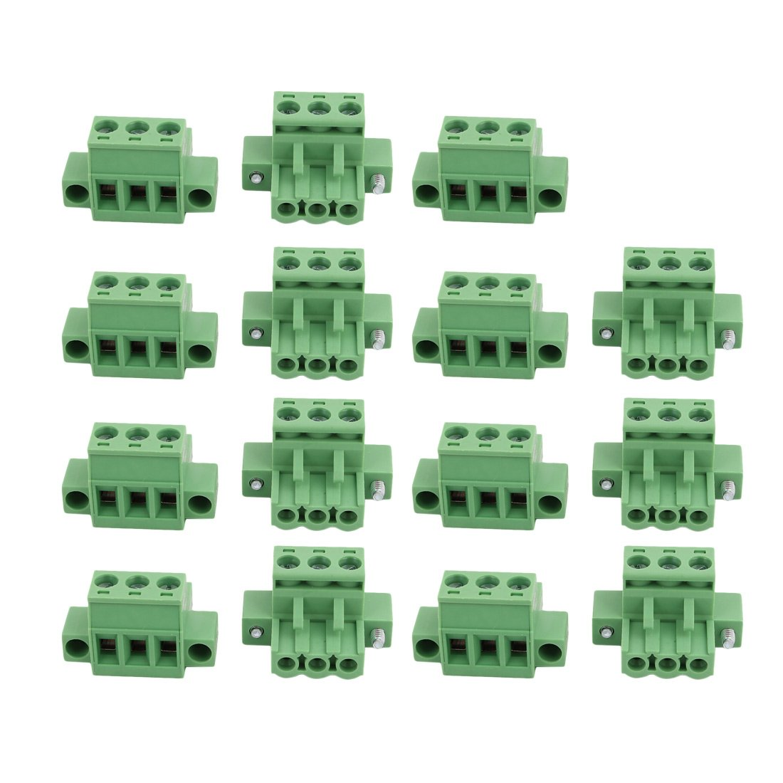 uxcell 15 Pcs LC1M AC300V 15A 5.0mm Pitch 3P PCB Mount Terminal Block Wire Connector