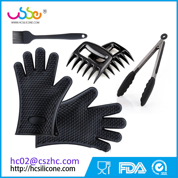 With Cooking Gloves Meat Shredder Claws Kitchen Tongs Silicone Brush Silicone BBQ Set