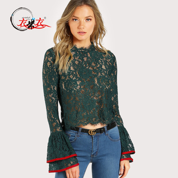 987edec71e78 2018 Womens & Ladies Latest Spring Top Designs Sexy Long Bell Sleeves Green Lace  Top
