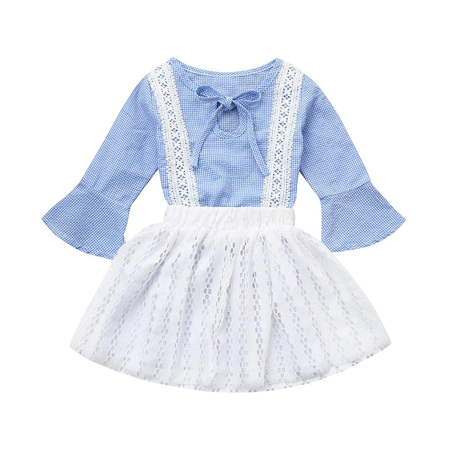 Memela Baby Christmas Outfit,Christmas Kids Baby Striped Lace T Shirt Tops Pants Outfits Set2-6Year