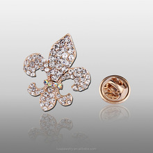 Fashion crystal rhinestone flower brooch , fleur de lis safety pin brooch BRL033