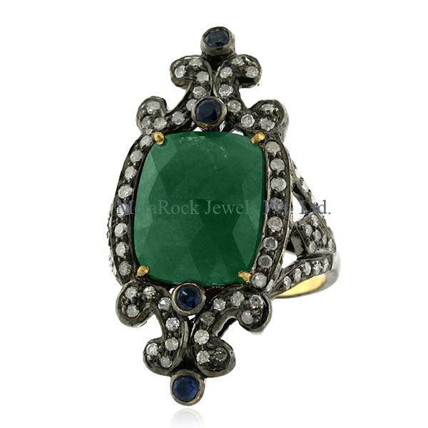 18k Solid Gold Pave Diamond Blue Sapphire Emerald Gemstone Ring 925 Sterling Silver Vintage Style Jewelry for Her