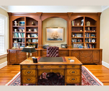 Custom european design wooden home library furniture