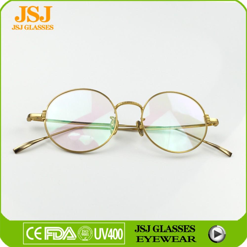 Round Rim Golden Frame Titanium Optical Frame Japan Designer ...