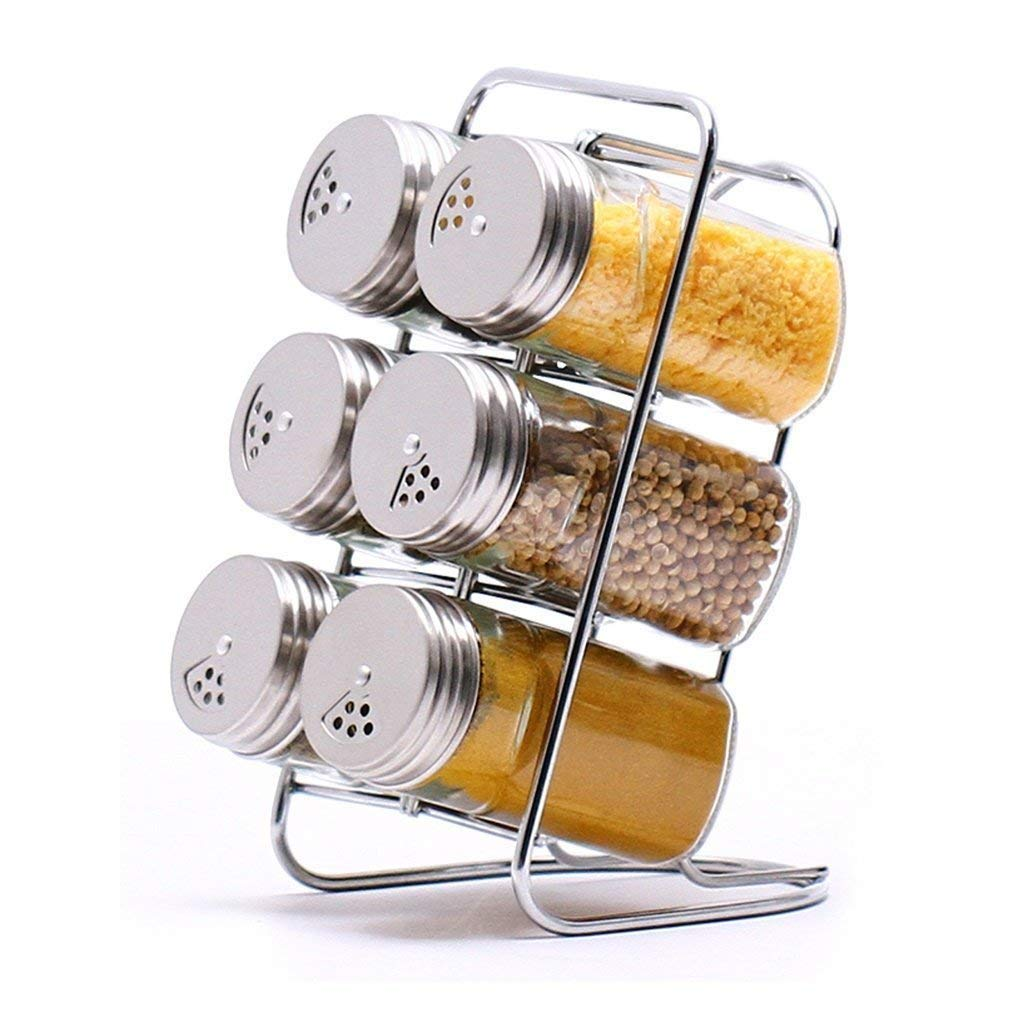 PLLP Seasoning Bottle Glass Condiment Bottles Seasoning Cans Seasoning Cans Seasoning Bottle Sets with Stainless Steel Cover Kitchen Seasoning Box (7 Assembled)