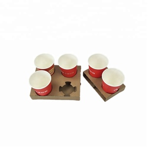 disposable coffee drinking paper cup holder takeout tray