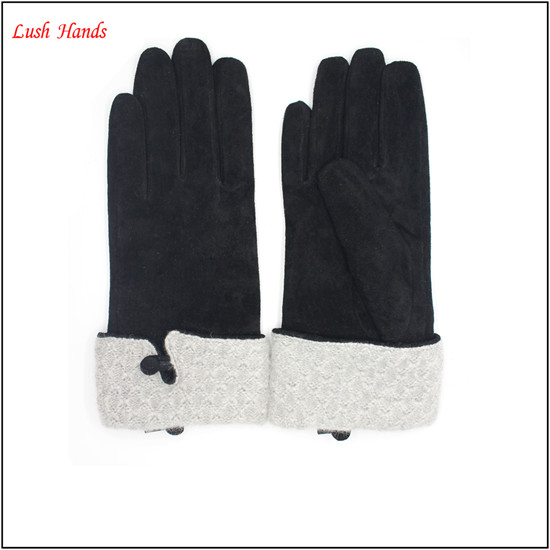 hot sales women's pigsuede leather gloves with kintted details
