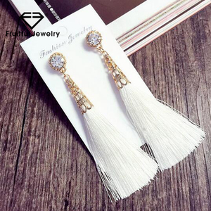 Highly Qualified Jewelry kc gold drop earring hollow-out tower with long thread tassels black blue red white earring