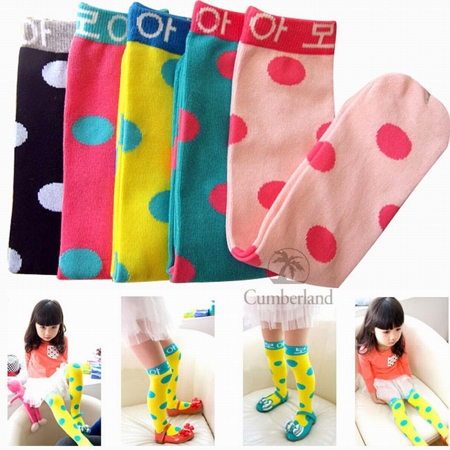 Collant Fille Collant Dot Girls Cotton 2016 New Hot Girl Stockings Thigh Breathable Warmth Colored Dots