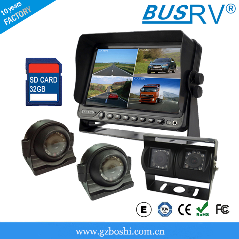 7 inch Quad Display Car Monitor Built-in DVR With AV inputs!
