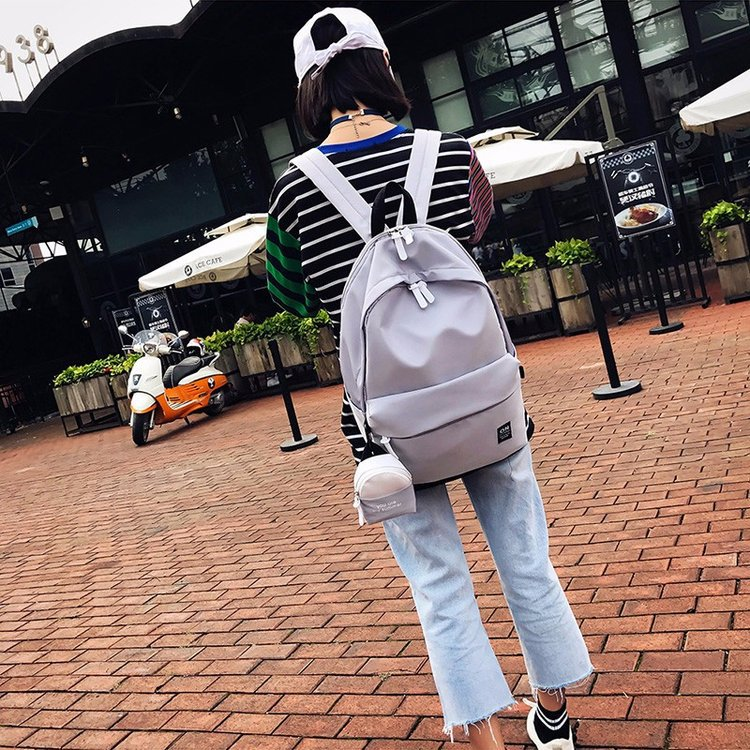Simple solid color Harajuku student casual photo hit color nylon backpack