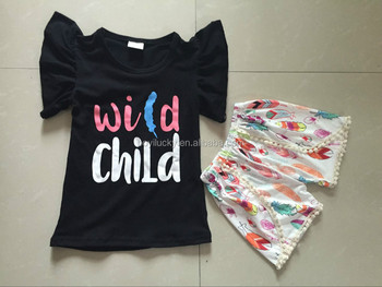 5b921c7312e0 New Fashion Baby Girl Wild Child Outfit Children Boutique Clothes ...