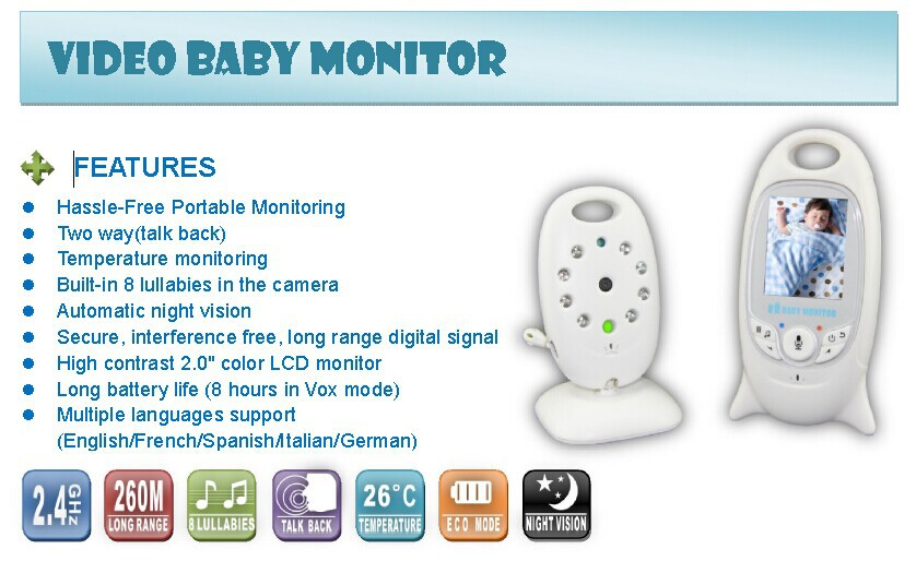 wholesale top sell vb601 night vision temperature monitor wirless video baby monitor. Black Bedroom Furniture Sets. Home Design Ideas