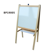 2019 HOT SELL Folding Two-sided Marquee Stained Wood Easel - Whiteboard & Black Chalkboard