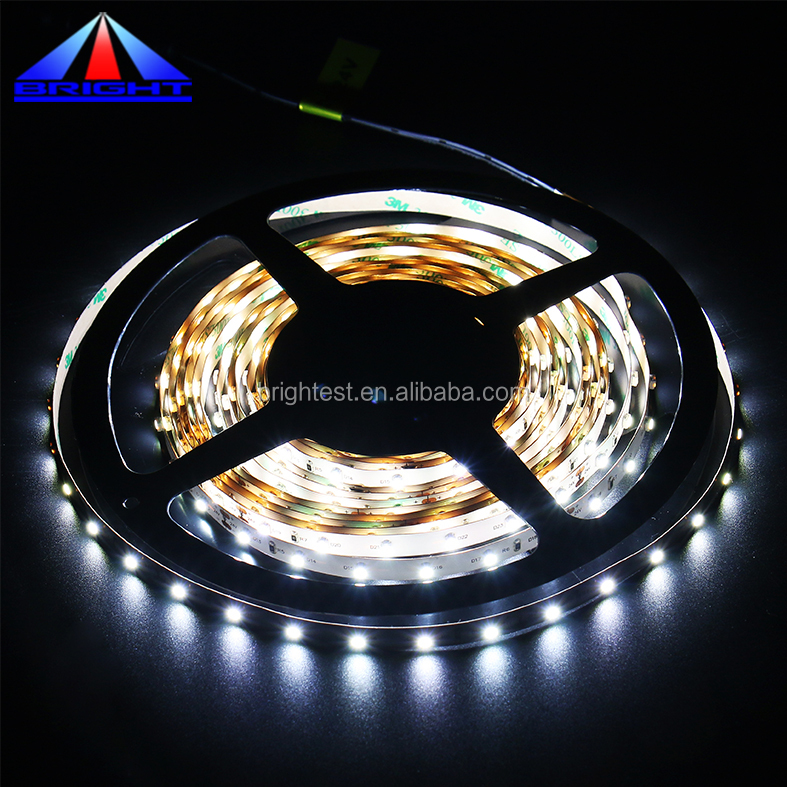 DC12V DC24V 120-degree Beam Angle 60 LEDs/m White flex LED Strip IP65 Waterproof 3528 Series with CE & ROHS