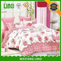 100% cotton printing queen bed linen/flower comforter set/fancy comforter set in pink