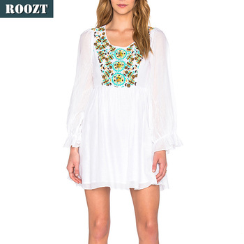 2017 mexican embroidered dresses wholesale white dress long sleeve