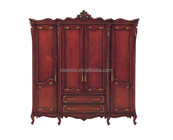 Clical Mahogany Wood Carving Bedroom Furniture Luxury Antique 4 Door Wardrobe