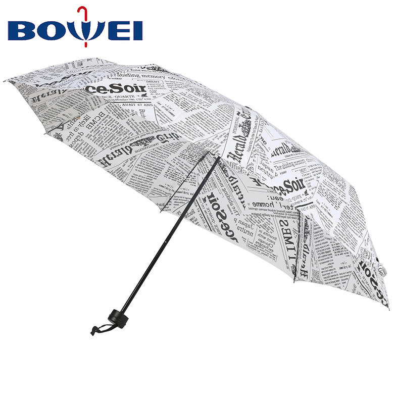 China manufacturer mini  pongee 3 folding umbrella with newspaper printing