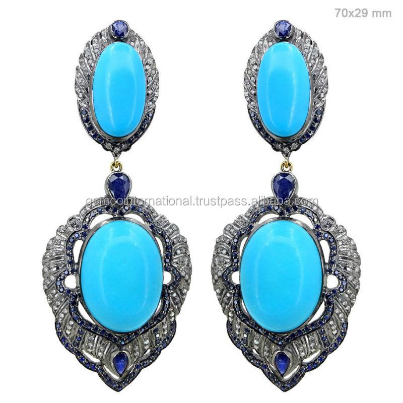 Joyer a zafiro azul turquesa cuelga los pendientes de for Piedra preciosa turquesa