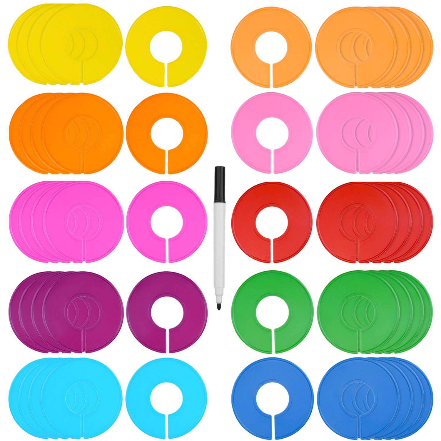 Blulu 50 Pieces Colored Blank Closet Size Dividers Round Clothing Rack Dividers with Marker Pen