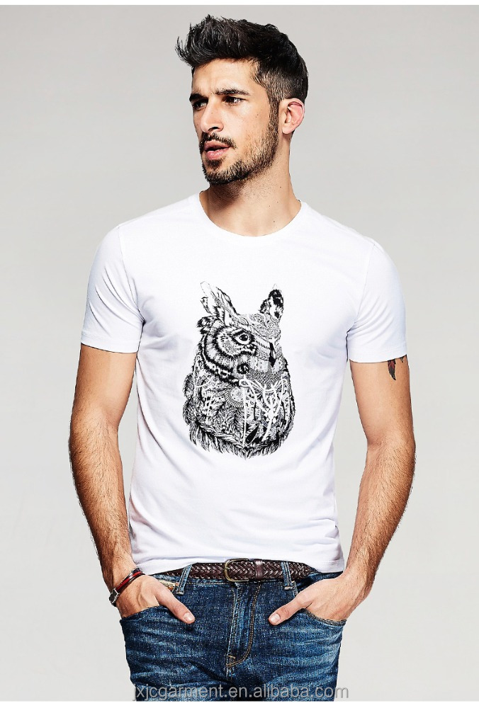 New 2016 Summer Fashion Mens Casual T-Shirts Owl Print 3D Short Sleeve For Brand Clothing Man Clothes Male Wear Tops Tees