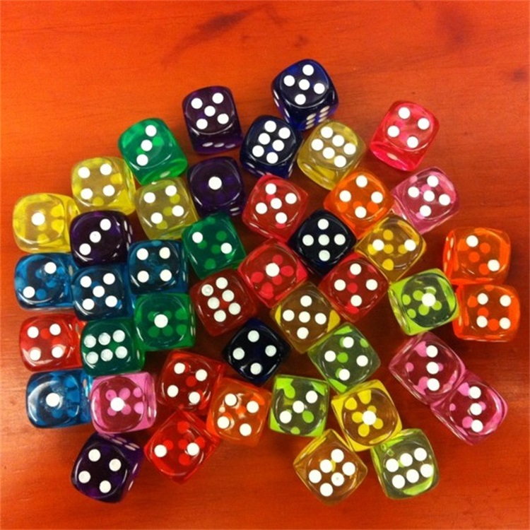 14MM Fillet Small Transparent Colour Crystal Dice