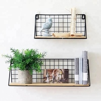 550-90 2019 newest wall mounted grid hanging decor wire storage shelf for living room bedroom