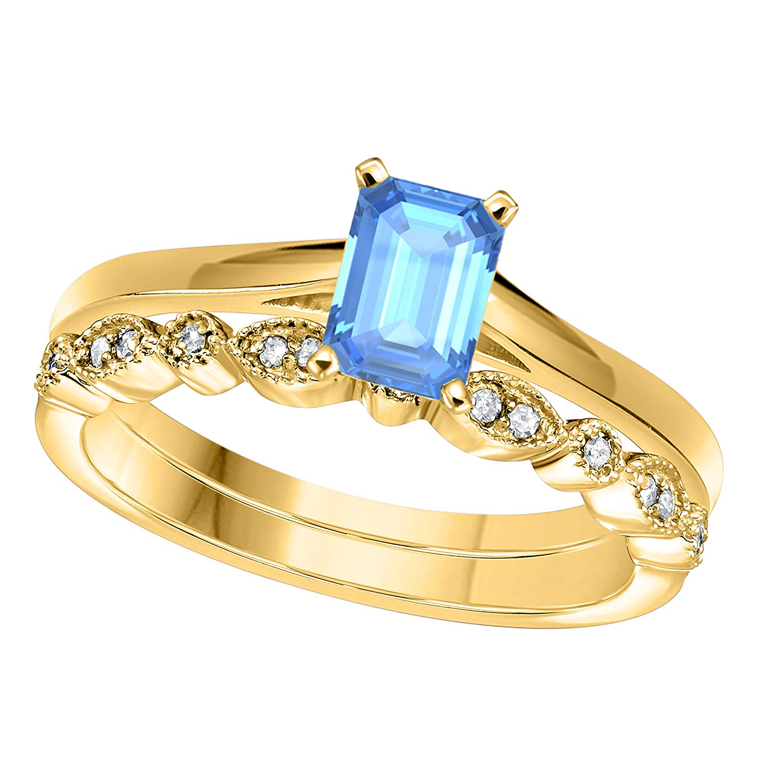 DreamJewels 1.00 Ct Emerald Shape & Round Cut Blue Topaz & White CZ Diamond 14k Yellow Gold Finish Alloy Art Deco Vintage Design Wedding Engagement Ring Sets Size 4.5-12