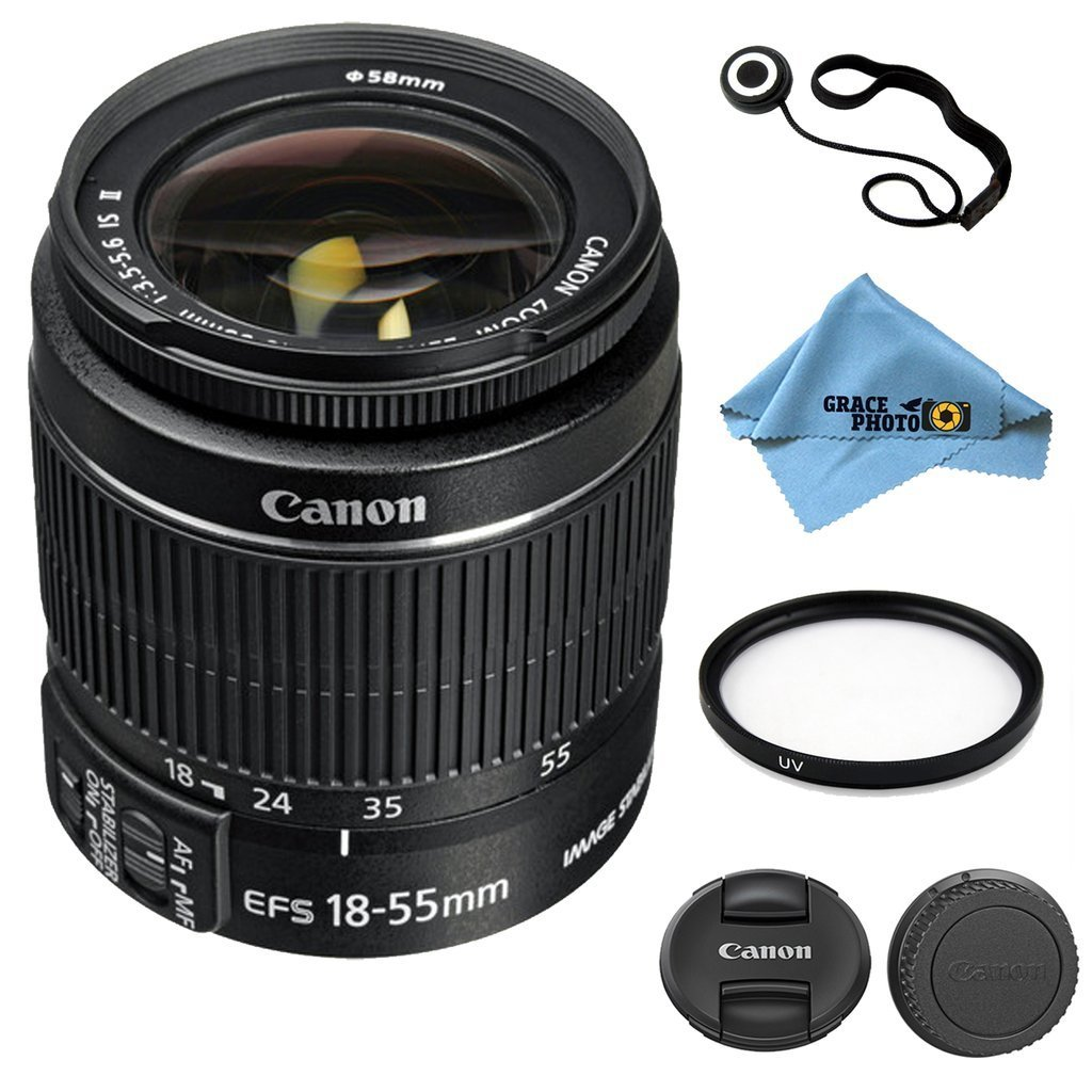 Canon EF-S 18–55mm f/3.5–5.6 IS II Lens Kit Accessory Bundle - International Version