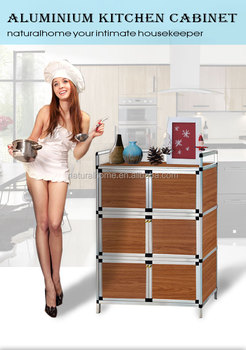Hot Sale Aluminium Alloy Tube And MDF Board Kitchen Storage Cabinet