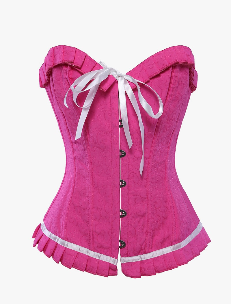 fe1462dcc2 Get Quotations · Embroidery Satin Overbust Bustier   Corset Tops Lady Hot  Pink Back Lacing Burlesque Corpet Shape Waist