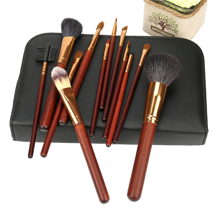 Private label luxurious 12pcs vegan wooden makeup brush with professional pu bag