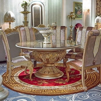 Hot Sale Antique Gold Finished Baroque Solid Wood Furniture Round