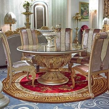 Venta Caliente Antiguo Acabado Oro Barroco Muebles De Madera Maciza Mesa  Redonda De Comedor Con 6 Sillas - Buy Mesa De Comedor Redonda Con 6 ...