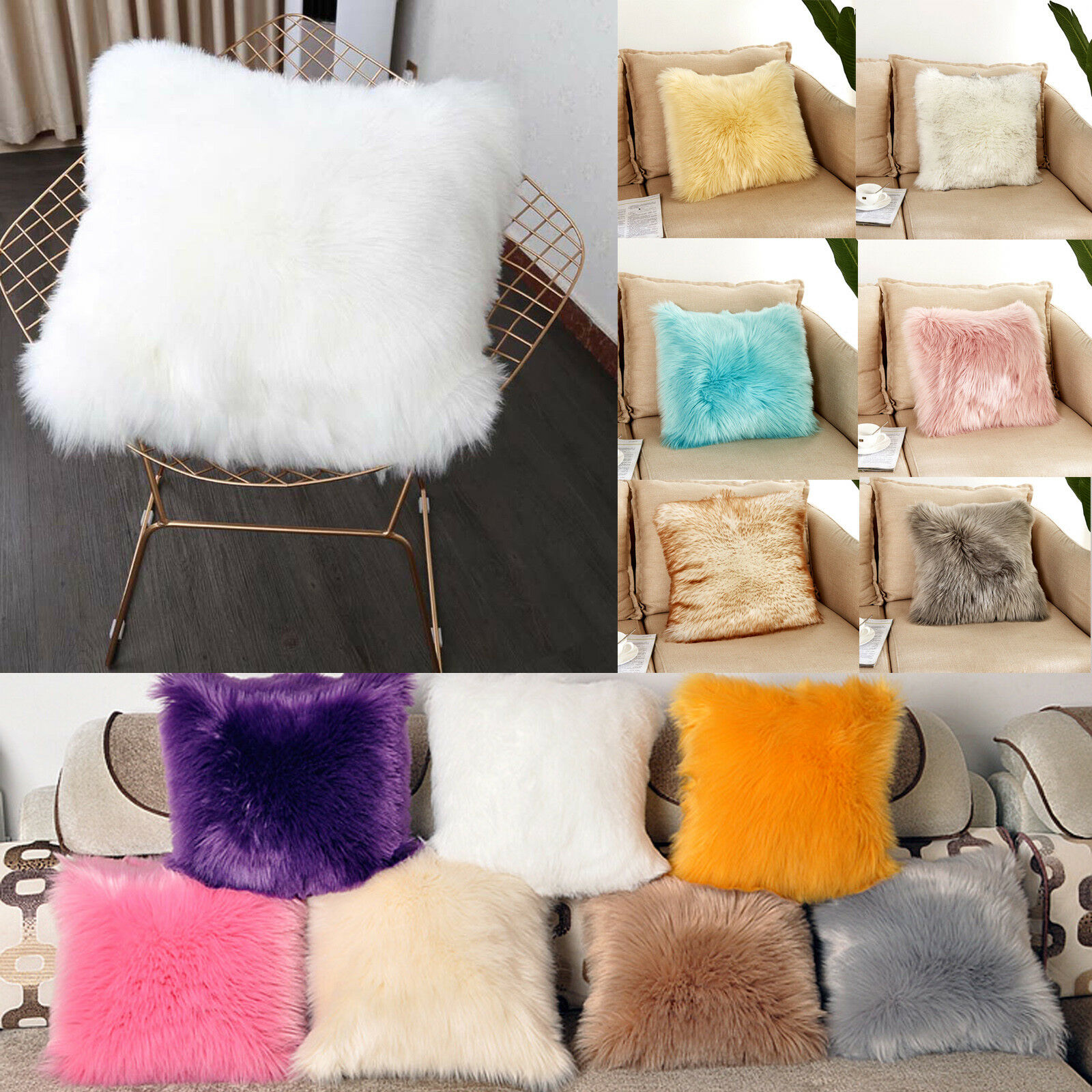 Top Quality synthetic back support cushion faux fur heart shape cushion