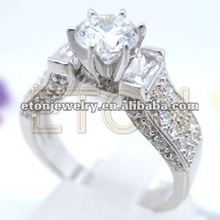 factory artisan crafted 6 prong setting head pure clear white cz quality e-coating authentic 925 silver engagement ring jewelry
