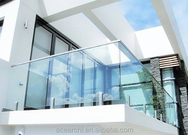 Modern Design Inox Balcony Glass Railing With Stainless Steel Pilar