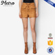 Women Lace-Up Twill Khaki Cargo Shorts