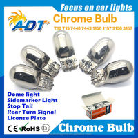 Best sellers 7443 7440 T20 chrome bulb Chromed silver white amber color auto bulb car accessories